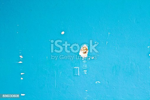Old Wall with holes and chipping paint in turquoise