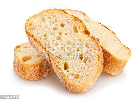 sliced baguette bread path isolated