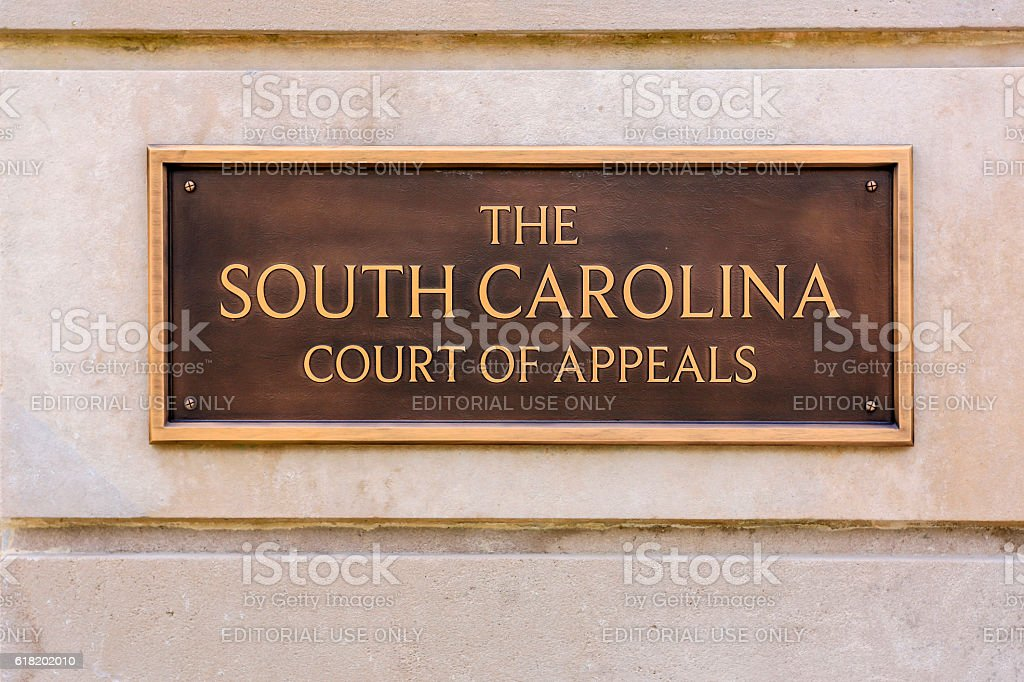 Wall plaque outside the South Carolina Court of Appeals building stock photo
