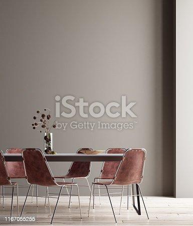 Wall, poster mock up in dining room, minimalist interior, 3d render