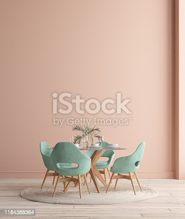 Wall, poster mock up in dining room, minimalist interior, 3d render