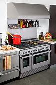 custom gourmet cooking range with ingredients