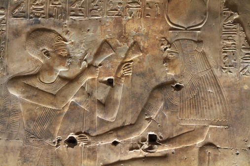 Wall Relief, Sanctuary of Isis, Seti I's Temple, Abydos, Egypt