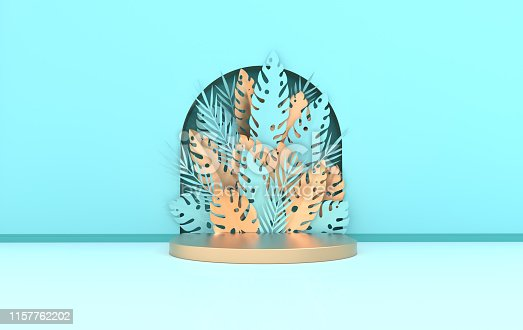 istock Wall scene with arch, tropical paper palm, monstera leaves and frame, podium platform for product presentation. Summer tropical leaf. Pastel and gold colors. Paper cut 3d render 1157762202