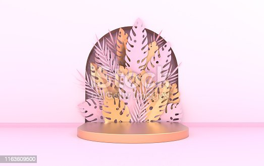 istock Wall scene with arch, tropical paper palm, monstera leaves and frame, podium platform for product presentation. Summer tropical leaf. Pastel and gold colors. Paper cut 3d render 1163609500