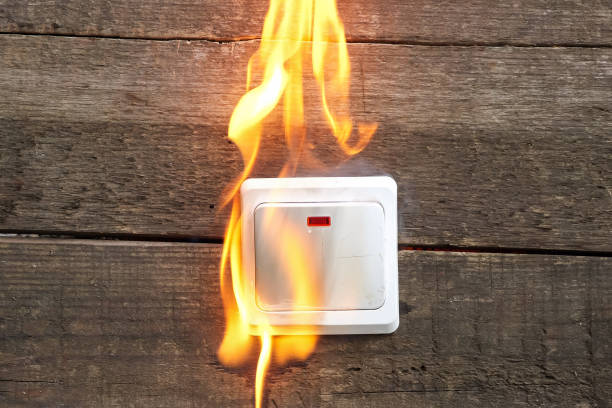 wall socket, smoke, fire occurred wall socket, smoke fire occurred incomplete stock pictures, royalty-free photos & images