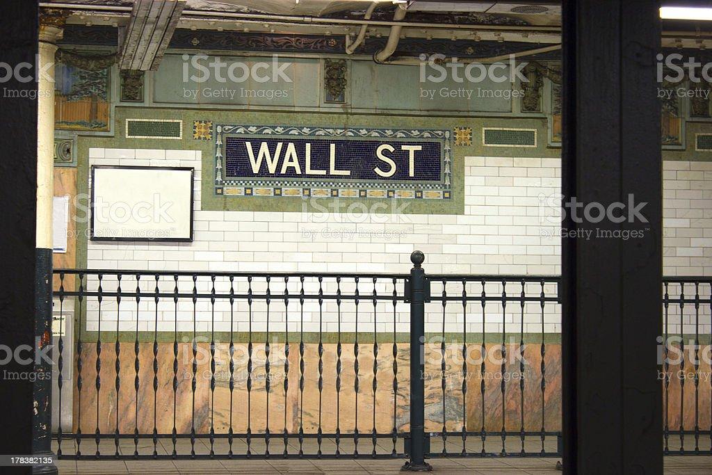 Wall St. subway stop, NYC stock photo
