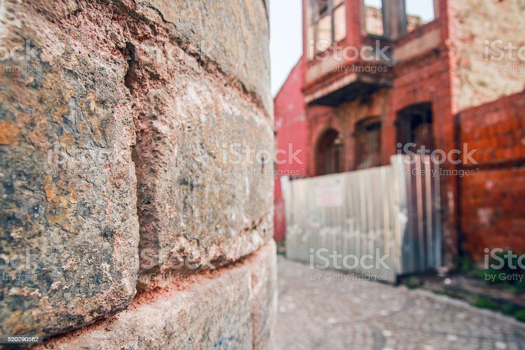 wall stone road stock photo