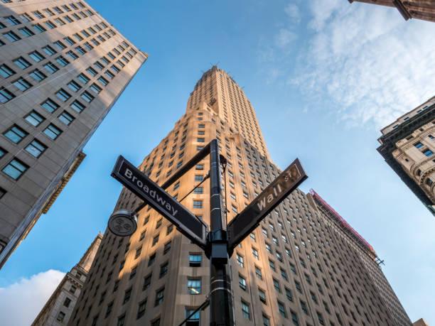 Wall Street und Broadway-Schild in Manhattan, New York. – Foto