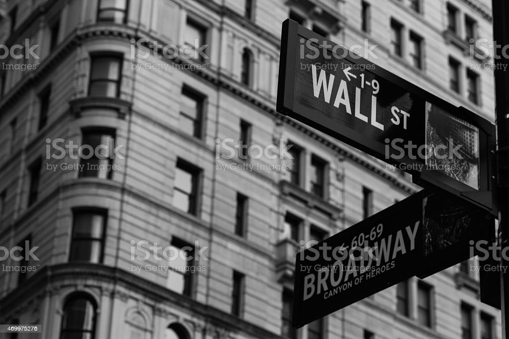 Wall Street and Broadway Sign stock photo