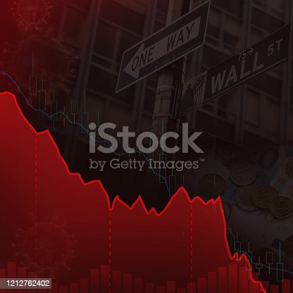 611868428 istock photo Wall Street downtrend red line 1212762402