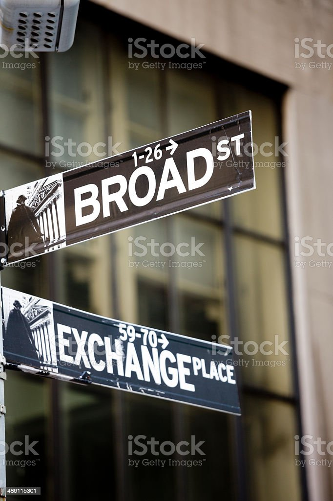 Wall Street Exchange Place Lower Mahattan New York City royalty-free stock photo