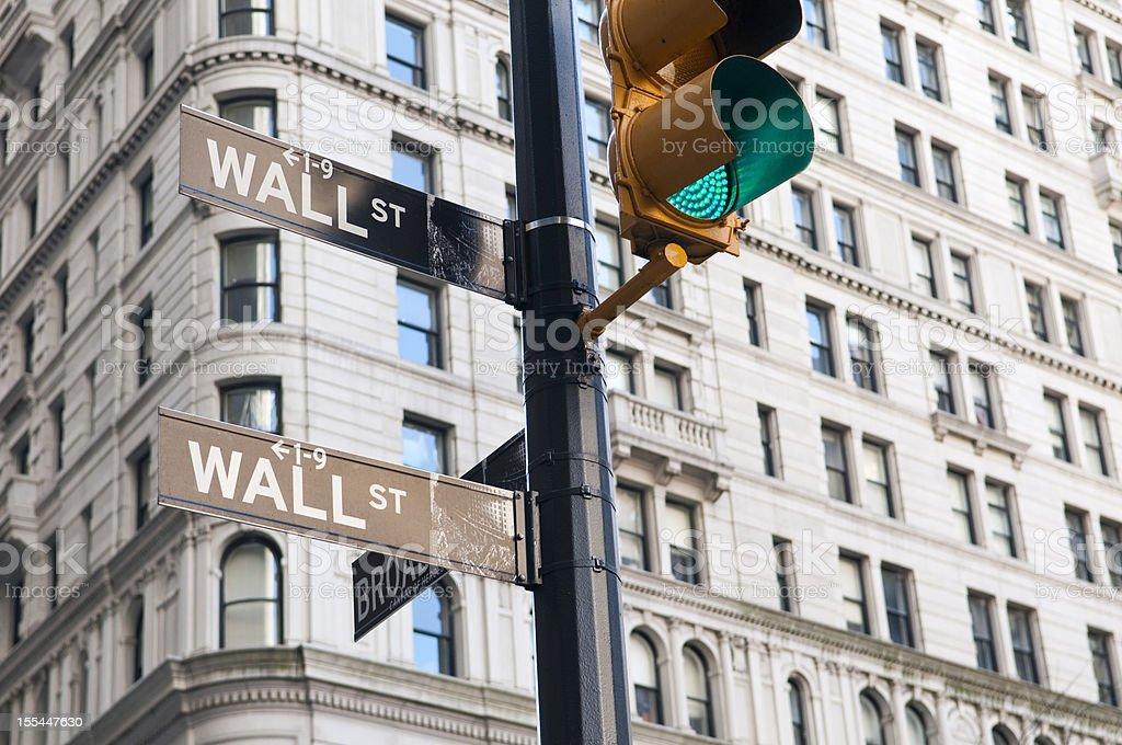Wall Street green light royalty-free stock photo