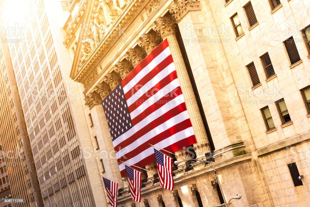 Wall street in New York stock photo