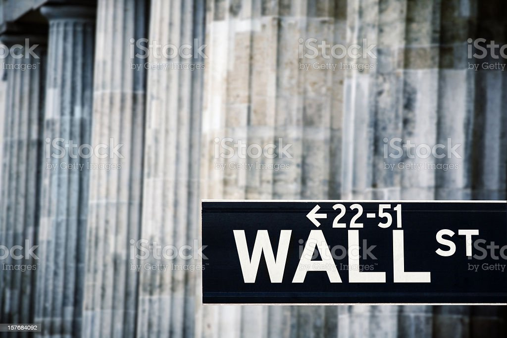 Wall street sign and classic columns royalty-free stock photo