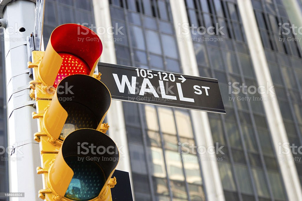 Wall Street Sign and red traffic light, New York stock photo