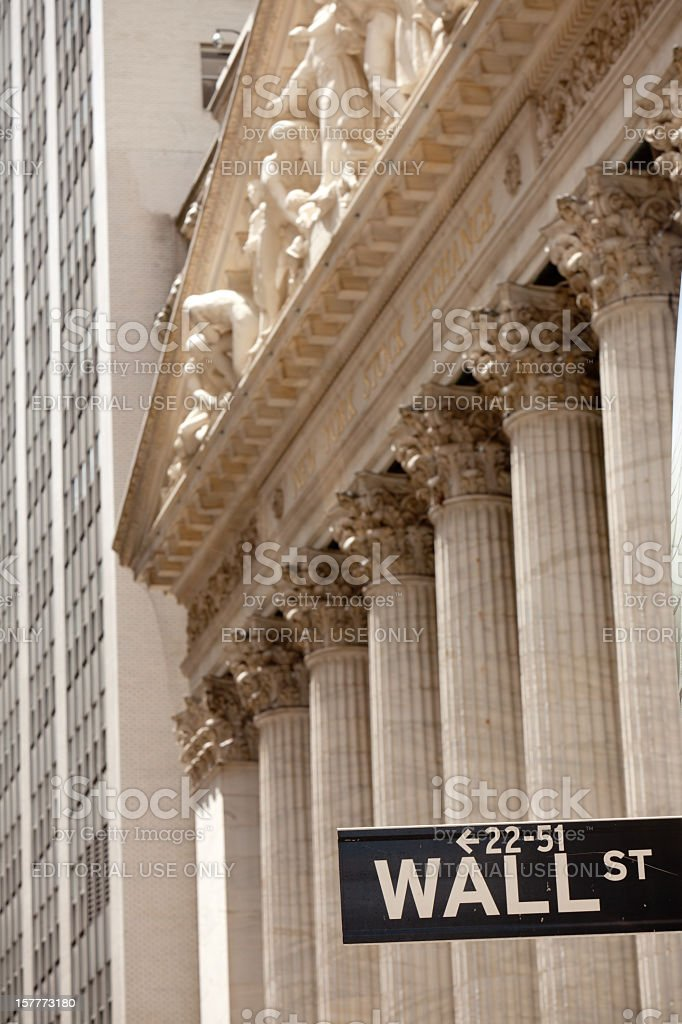 Wall street sign and Stock Exchange royalty-free stock photo