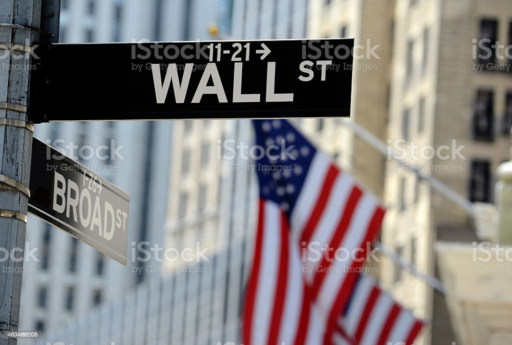 Wall Street sign, downtown Manhattan, New York City stock photo