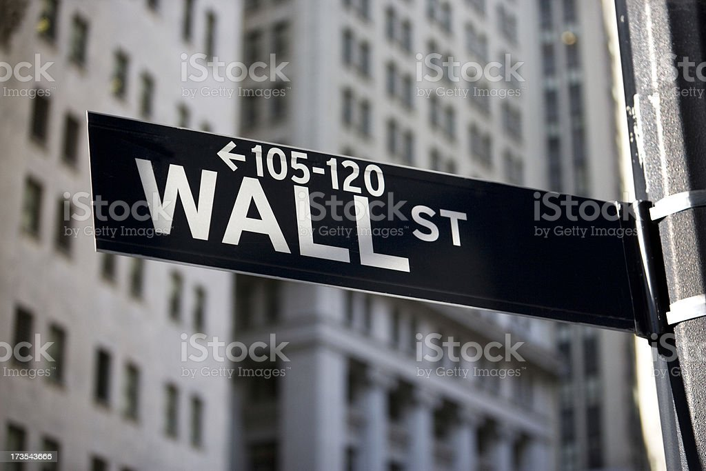 Wall street sign in Manhattan royalty-free stock photo