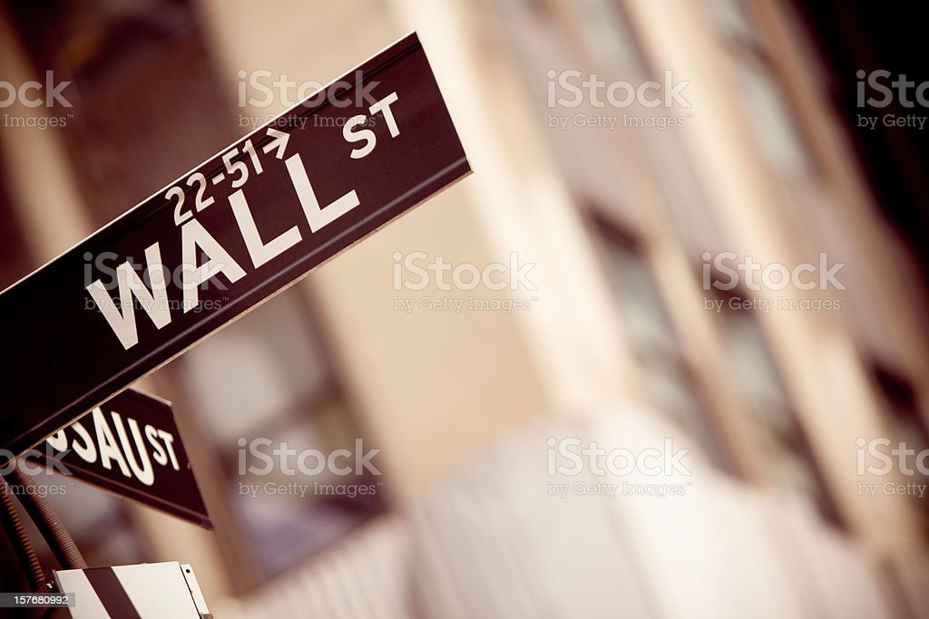 Wall Street sign in New York City royalty-free stock photo