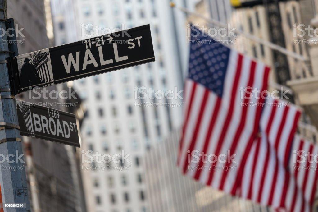 Wall Street in New York mit amerikanischen Fahnen und New York Stock Exchange Hintergrund Sign. – Foto