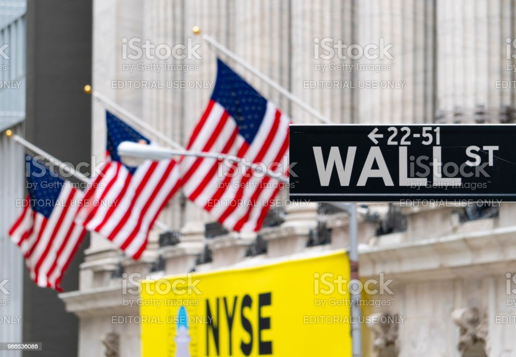 Wall Street sign near New York Stock Exchange stock photo