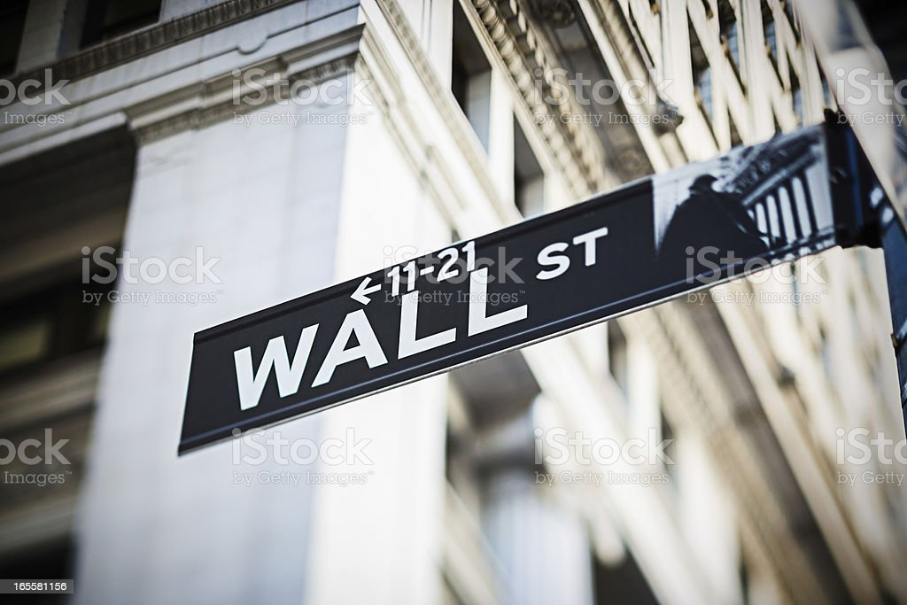 Wall Street sign, New York City, USA stock photo