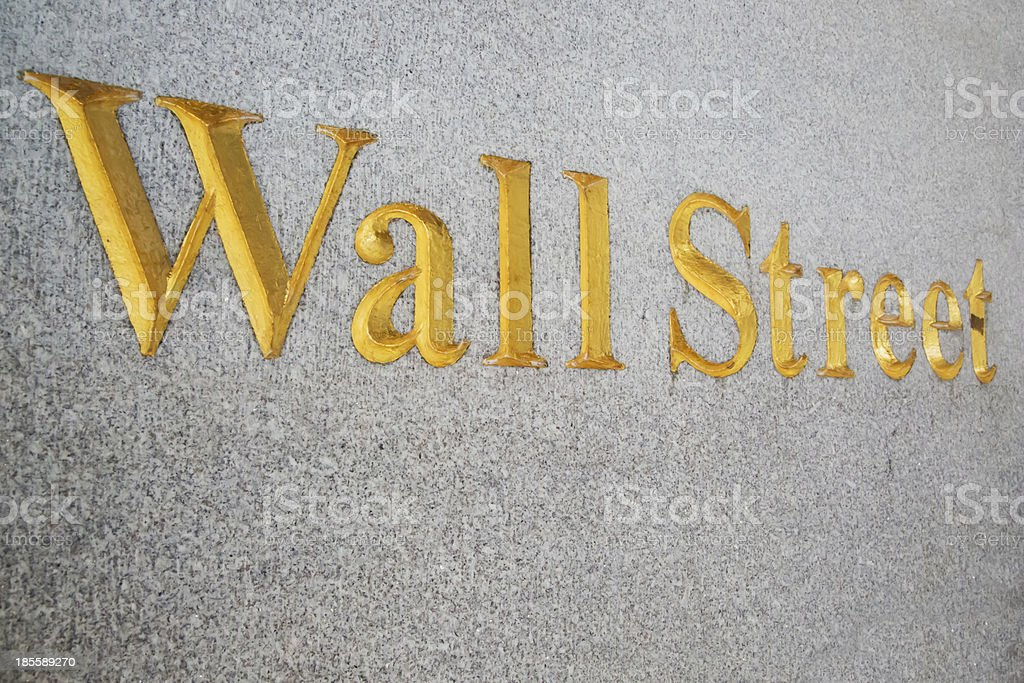 Wall Street sign painted in gold royalty-free stock photo