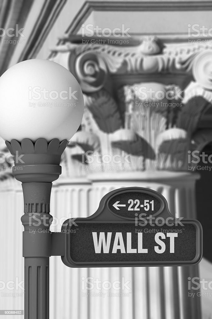 Wall Street Sign with Corinthian Columns royalty-free stock photo