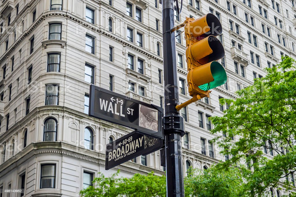 Wall street sign with traffic light stock photo