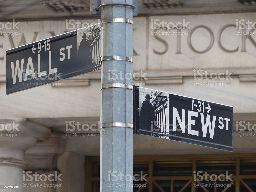 Street signs in front of the New York Stock Exchange building