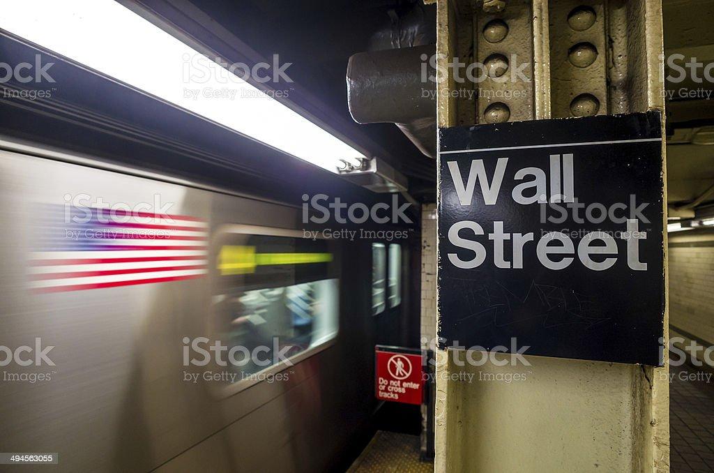 Placa de metrô Wall street - foto de acervo