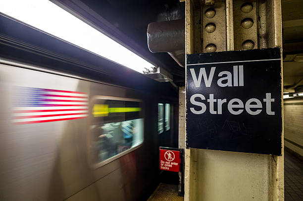 wall street subway sign - new york stock exchange stock pictures, royalty-free photos & images