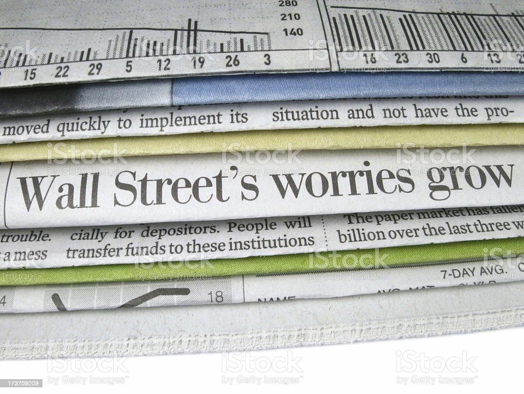 Wall Street Worries Headline royalty-free stock photo