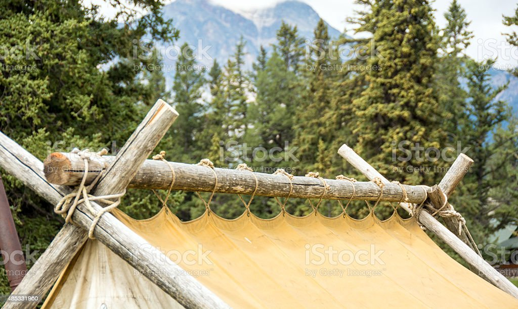 Wall tent set-up showing correct procedure- ridge pole royalty-free stock photo & Wall Tent Setup Showing Correct Procedure Ridge Pole Stock Photo ...