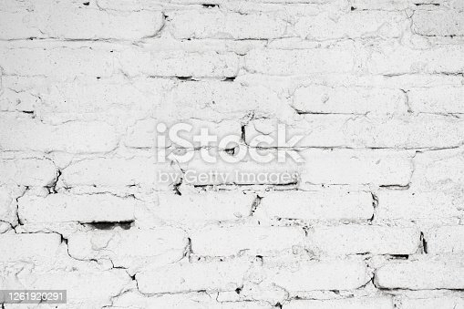 Wall texture of white cement and white bricks. Sloppy construction works abstract background