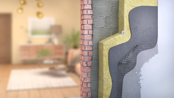 Wall thermal insulation with blurred room on background, 3d illustration stock photo