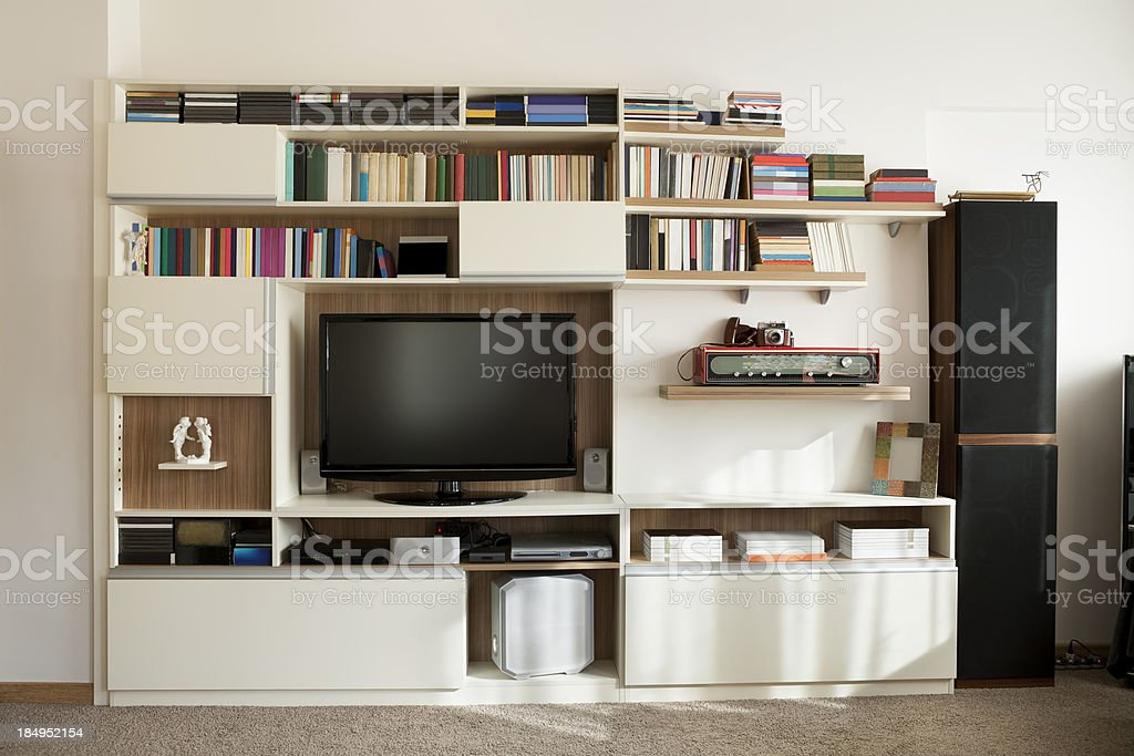 TV wall unit bookshelf stock photo