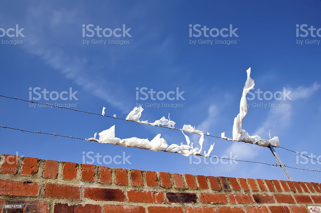 Wall, wire, wind and trash. royalty-free stock photo