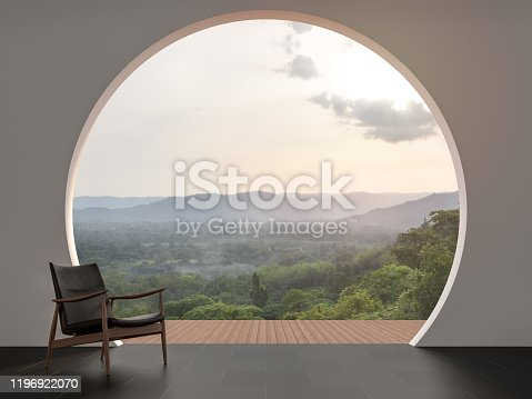A wall with arch shape gap looking out over the mountains 3d render,The room has black tile floor.Furnished with wood and leather chair.Looking out to the balcony and nature view.