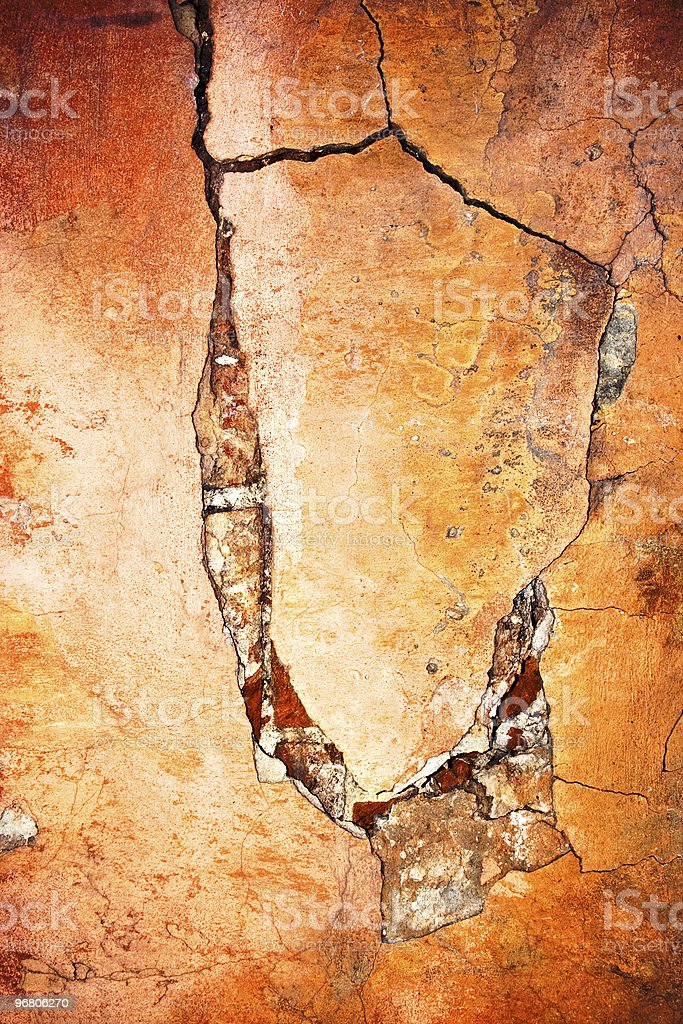 Wall with crack and peeling paint royalty-free stock photo