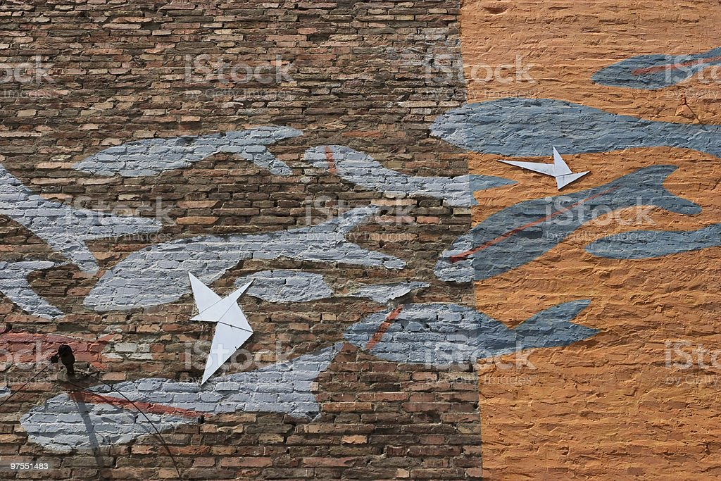 Wall With Fishes royalty-free stock photo