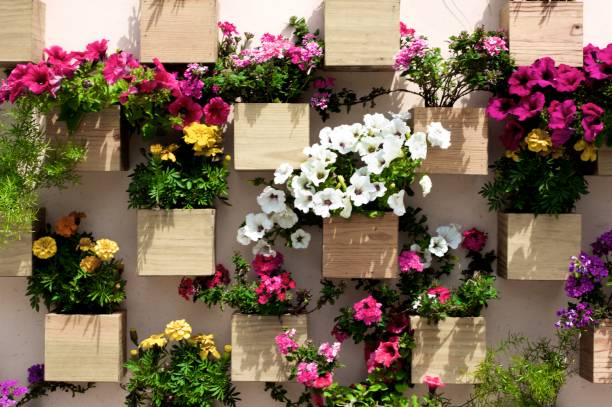 Wall with Flower Decoration stock photo