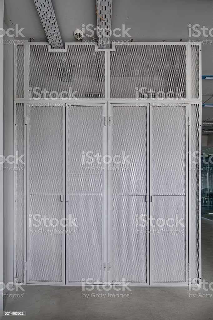 Wall with mesh doors foto stock royalty-free