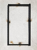 wall with metal frame