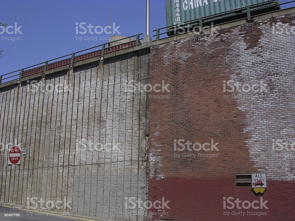 Wall with Signs _ red, white, blue royalty-free stock photo