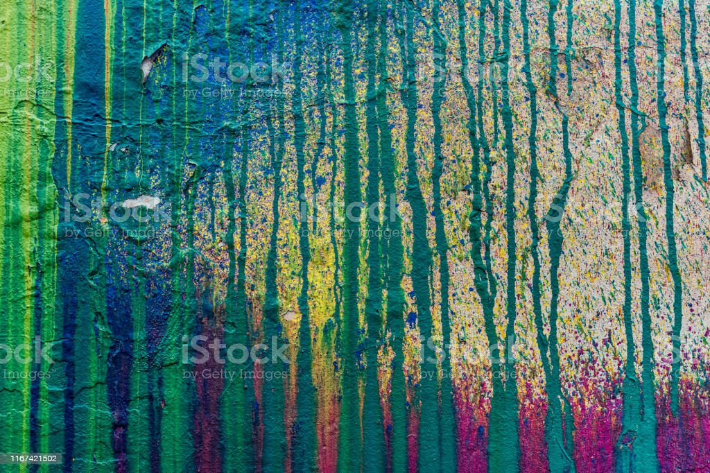 Pared Con Manchas De Pintura Multicolor Foto De Stock Y Más Banco De Imágenes De Abstracto Istock