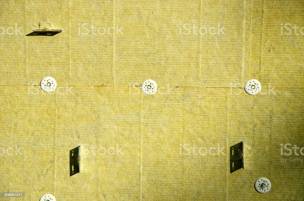 wall with thermal mineral rock wool insulation material stock photo