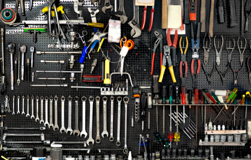 wall with tools
