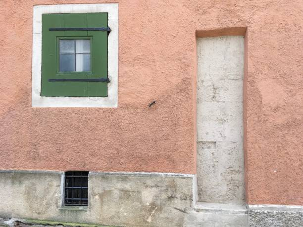 IMG_7869 Wall with window in Rothenburg ob der Tauber, Germany stock photo